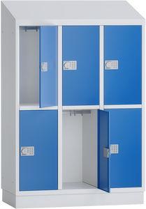 PREMIUM - Garderobenschrank Grundschule - 3 Abteile - 6 Fächer - 1500x1075x500 mm (HxBxT)
