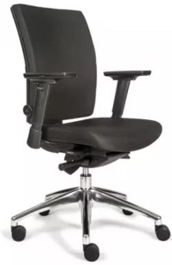 Bürodrehstuhl mit Armlehnen - gepolstert - Lordosenstütze - Alu Fußkreuz