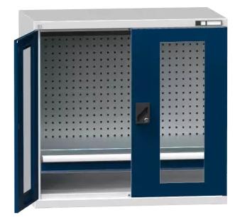 Flügeltürenschrank/ Werkzeugschrank SK1 - mit Glastür, gelochte Wände - 1000x1044x625 mm (HxBxT)