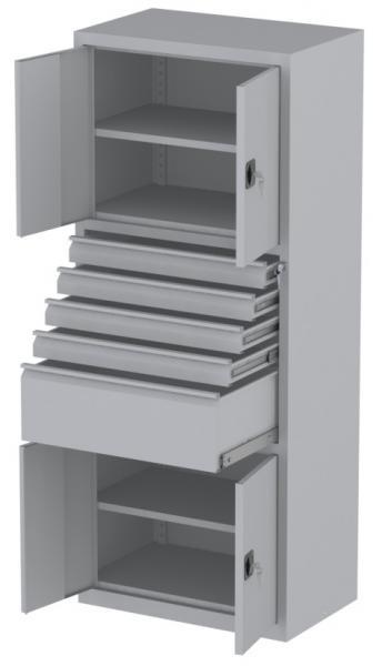 Werkstattschrank - 4 Fächer und 1 + 4 Schubladen - 1950x1000x500 mm (HxBxT)