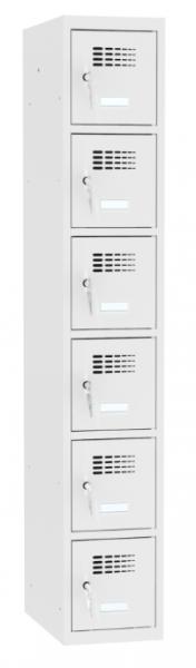 Schließfachschrank - 1 Abteil - 6 Fächer - 1800x400x500 mm (HxBxT)