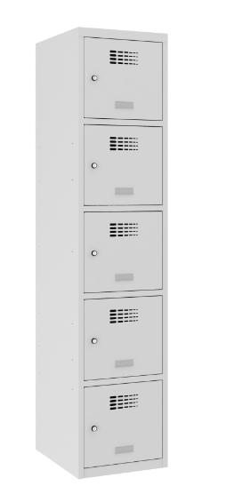 Schließfachschrank - 1 Abteil - 5 Fächer - 1800x400x500 mm (HxBxT)