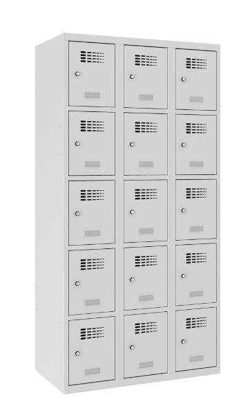 Schließfachschrank - 3 Abteile - 15 Fächer - 1800x900x500 mm (HxBxT)