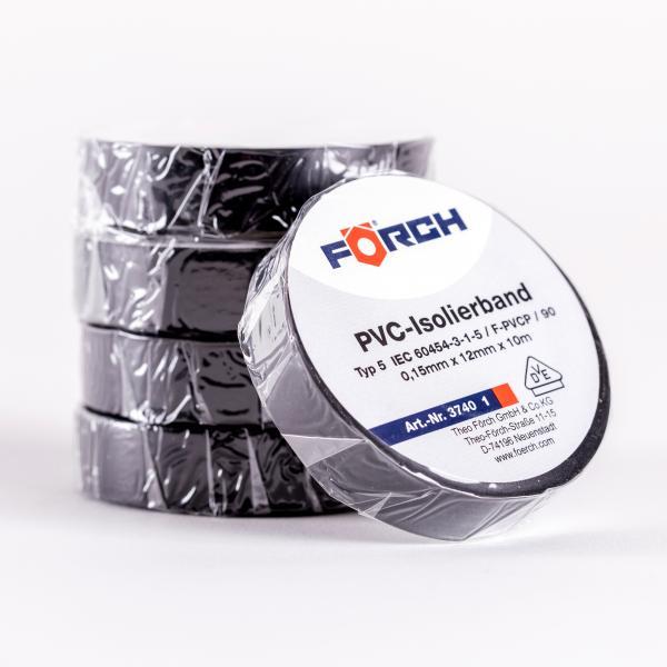 FÖRCH 5er Set Isolierbänder PVC Klebeband Elektroniker 0,15mm x 12mm x 10m - schwarz