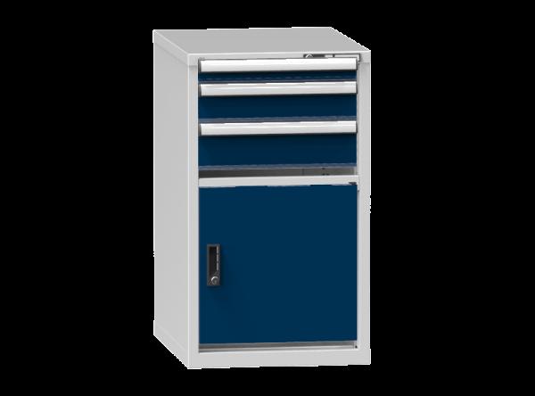 Schubladenschrank - Standcontainer - 1+1+1 Schublade, 1x Tür 550mm - 990x578x753 mm (HxBxT)