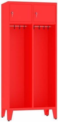 Spind, Feuerwehrschrank mit Füße - 2 Abteile - 1860x810x480 mm (HxBxT)