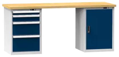 Arbeitstisch KOMBI 700 - 1 + 1 + 1 + 1 Schubladen, 1 Tür, 2 Fachböden