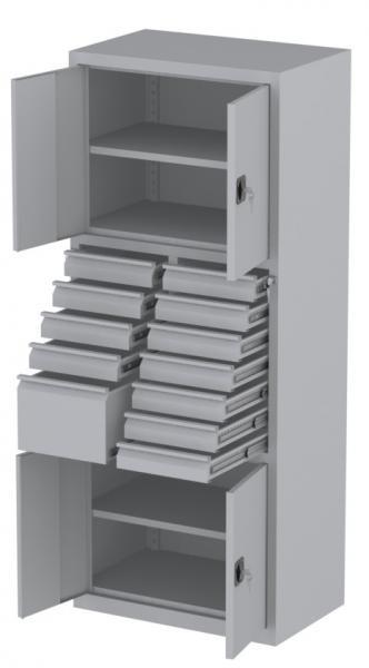Werkstattschrank - 4 Fächer und 11 + 1 Schubladen - 1950x1000x500 mm (HxBxT)