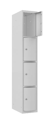 Schließfachschrank - 1 Abteil - 4 Fächer - mit abgerundeter Tür - 1800x300x500 mm (HxBxT)