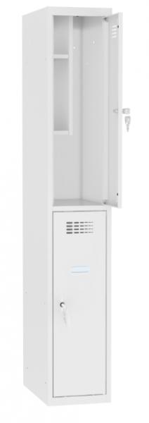 Schließfachschrank - 1 Abteil - 2 Fächer - mit Bücherregal - 1800x400x500 mm (HxBxT)