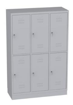 Garderobenschrank - 3 Abteile - 6 Fächer - Grundschule - 1500x1200x480 mm (HxBxT)