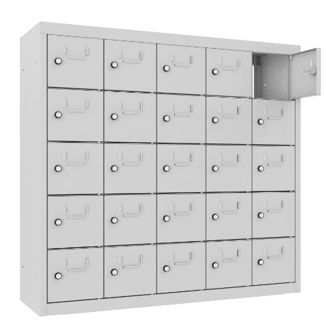 Schließfach/Kantinenschrank - 5 Abteile - 25 Fächer - mit Durchgang - 940x1000x300 mm (HxBxT