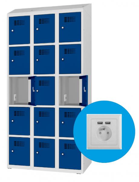 Schließfachschrank - 3 Abteile - 15 Fächer - mit Steckdose/USB - 1800x900x500 mm (HxBxT)