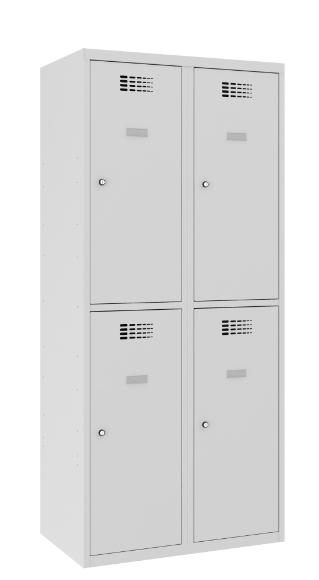 Garderobenschrank - 2 Abteile - 4 Fächer - 1800x800x500 mm (HxBxT)