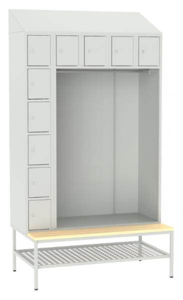 offene Garderobe mit Sitzbank - 10 Fächer - 2190x1175x490/745 mm (HxBxT)