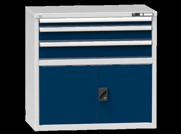 Schubladenschrank - Standcontainer - 1+1+1 Schublade, 1x Tür 550mm - 990x1037x600 mm (HxBxT)