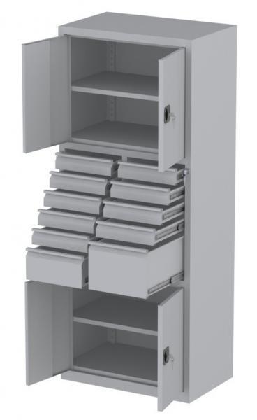 Werkstattschrank - 4 Fächer und 1 + 9 + 1 Schubladen - 1950x1000x500 mm (HxBxT)