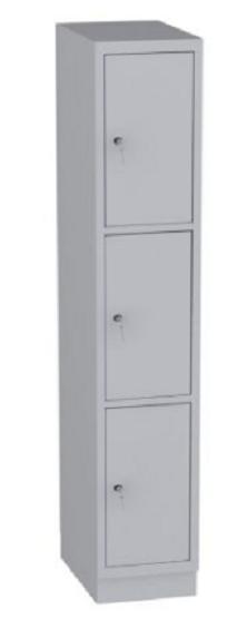 Schließfachschrank - 1 Abteil - 3 Fächer - 1950x370x480 mm (HxBxT)