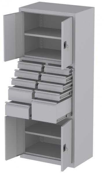 Werkstattschrank - 4 Fächer und 1 + 7 + 2 Schubladen - 1950x1000x500 mm (HxBxT)