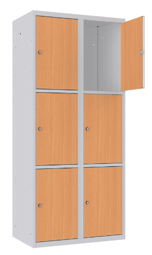 Schließfachschrank - 2 Abteile - 6 Fächer - MDF Tür - 1800x800x500 mm (HxBxT)