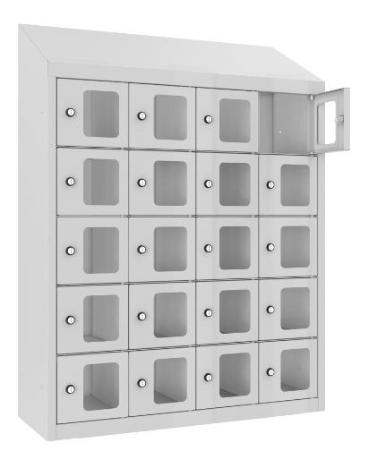Schließfach/Kantinenschrank - 4 Abteile - 20 Fächer - mit Plexi-Tür - 1090x810x300 mm (HxBxT)