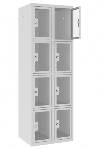 Schließfachschrank - 2 Abteile - 8 Fächer - Plexiglas Tür - 1800x600x500 mm (HxBxT)