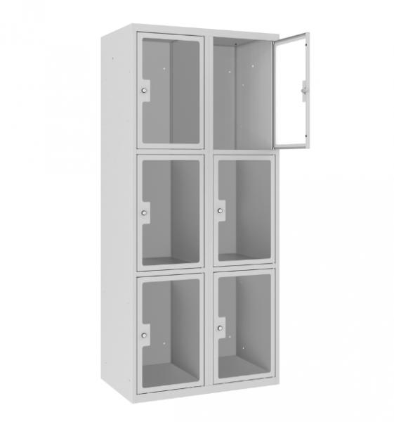 Schließfachschrank - 2 Abteile - 6 Fächer - Plexiglas Tür - 1800x800x500 mm (HxBxT)