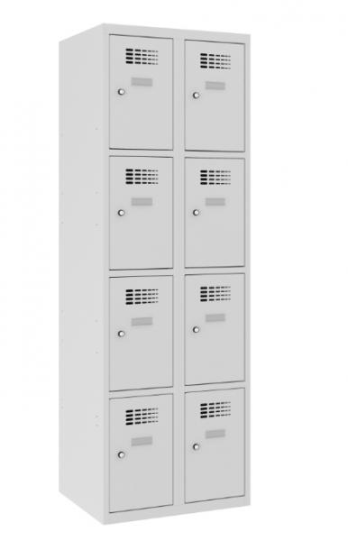Schließfachschrank - 2 Abteile - 8 Fächer - 1800x600x500 mm (HxBxT)