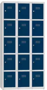 Schließfachschrank - 3 Abteile - 15 Fächer - 1850x900x500 mm (HxBxT)