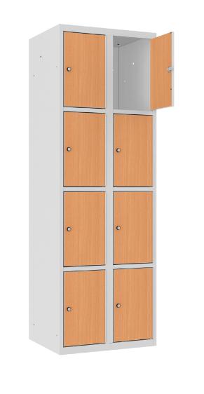 Schließfachschrank - 2 Abteile - 8 Fächer - MDF Tür - 1800x600x500 mm (HxBxT)