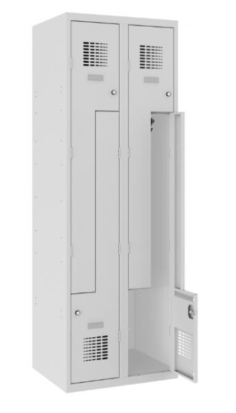 Z-Spind, Garderobenschrank - 2 Abteile - 4 Fächer - 1800x600x500 mm (HxBxT)
