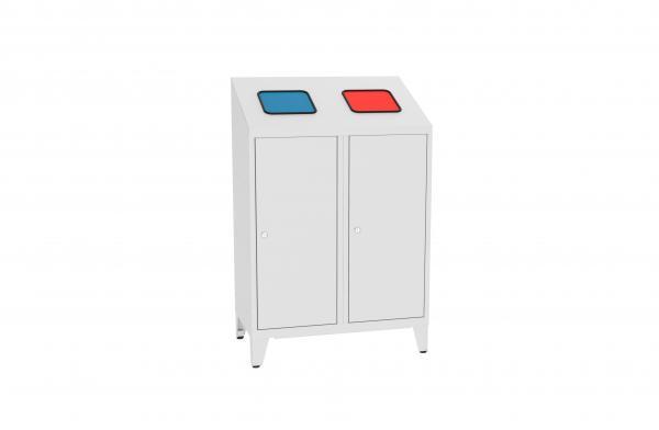 Metall-Recyclingbehälter - für 2 Entsorgungsbeutel - 1220x800x450 mm (HxBxT)