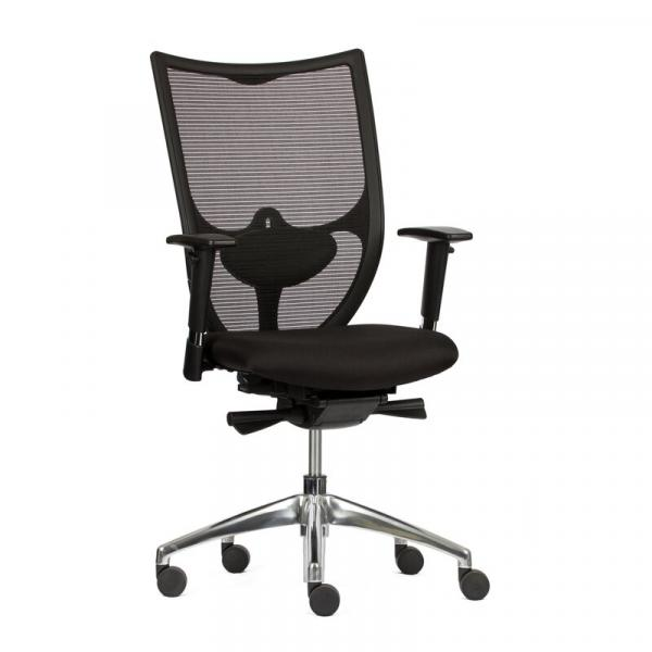 Bürodrehstuhl mit 3D Armlehnen - Netzrücken - Lordosenstütze - Alu Fußkreuz