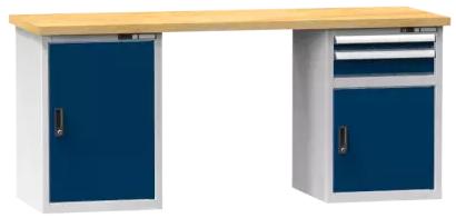 Arbeitstisch KOMBI 700 - 1 + 1 + Schubladen, 2 Türen, 3 Fachböden