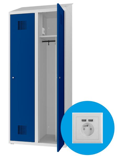 Spind - 2 Abteile - mit Trennwand - mit Steckdosen/USB - 1800x800x500 mm (HxBxT)