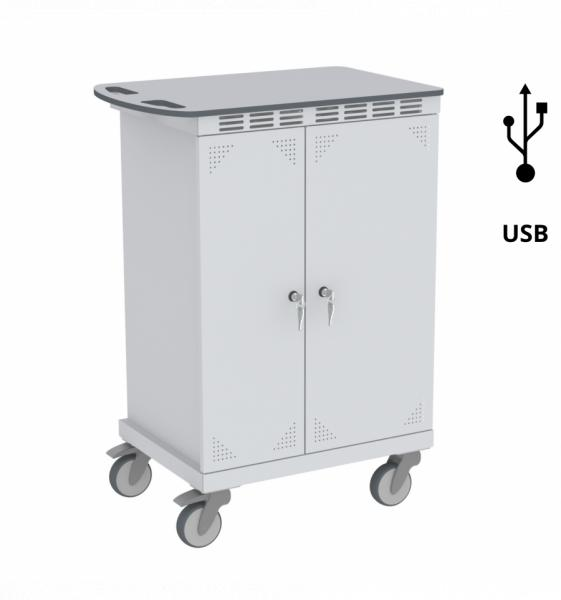 Tabletwagen, Akkuladewagen - 16 Fächer - USB-Lademodul - 950x680x450 mm (HxBxT)