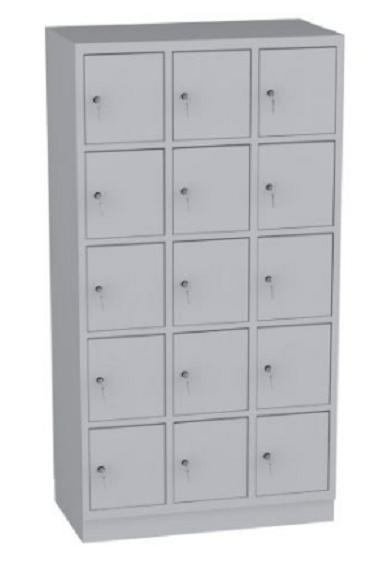 Schließfachschrank - 3 Abteile - 15 Fächer - 1950x1050x480 mm (HxBxT)