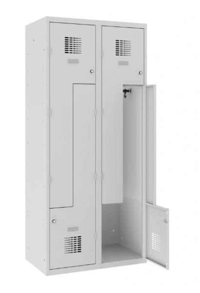 Z-Spind, Garderobenschrank - 2 Abteile - 4 Fächer - 1800x800x500 mm (HxBxT)