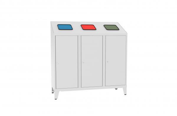 Metall-Recyclingbehälter - für 3 Entsorgungsbeutel - 1220x1200x450 mm (HxBxT)