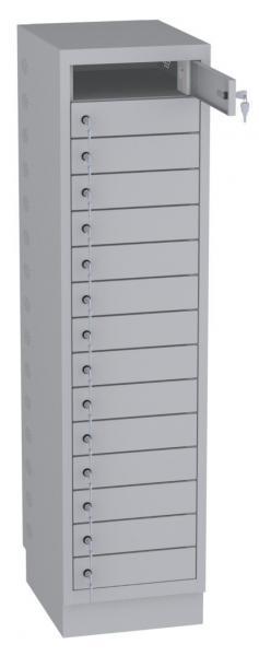 Schrank für Laptops, Akkuladeschrank - 15 Fächer mit Steckdosen - 1605x400x500 mm (HxBxT)