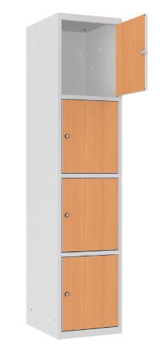 Schließfachschrank - 1 Abteil - 4 Fächer - MDF Tür - 1800x400x500 mm (HxBxT)