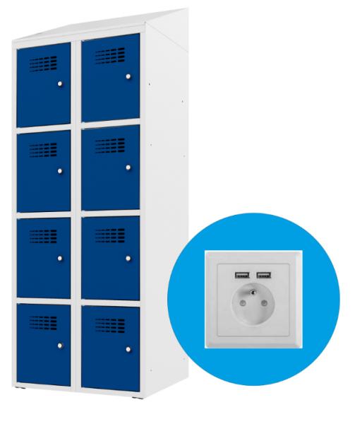 Schließfachschrank - 2 Abteile - 8 Fächer - mit Steckdose/USB - 1800x800500 mm (HxBxT)