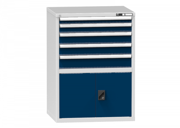 Schubladenschrank - Standcontainer - 1+1+2+1 Schublade, 1x Tür 550mm - 1215x884x753 mm (HxBxT)