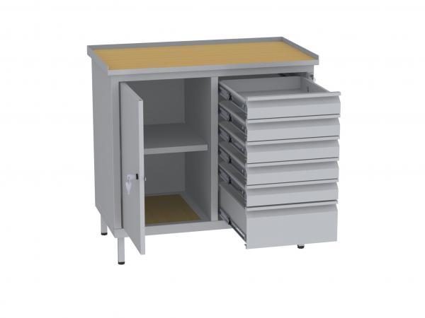 Werkstattschrank, niedrig - 2 Fächer und 1 + 5 Schubladen - 850x900x505 mm (HxBxT)