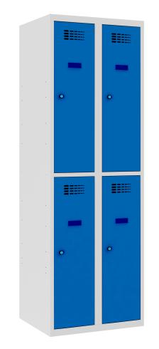 Garderobenschrank - 2 Abteile - 4 Fächer - 1800x600x500 mm (HxBxT)