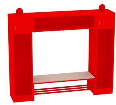 Spind, Feuerwehrschrank - Set mit Sitzbank - 2 Abteile -1950x2210x480 mm (HxBxT)