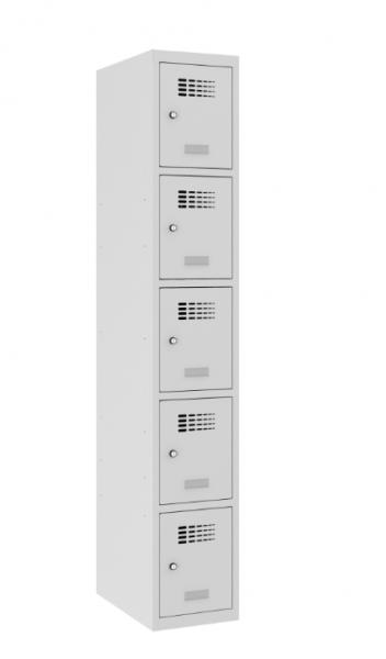 Schließfachschrank - 1 Abteil - 5 Fächer - 1800x300x500 mm (HxBxT)