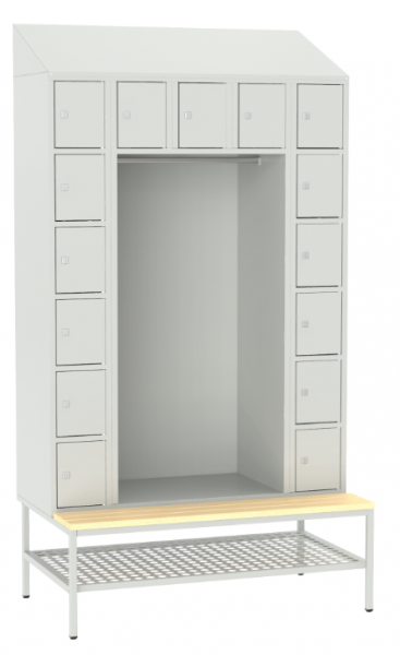 offene Garderobe mit Sitzbank - 15 Fächer - 2190x1175x490/745 mm (HxBxT)