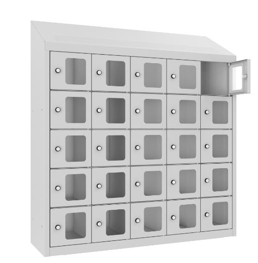 Schließfach/Kantinenschrank - 5 Abteile - 25 Fächer - mit Plexi-Tür - 1090x1000x300 mm (HxBxT)