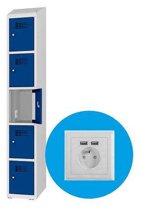 Schließfachschrank - 1 Abteil - 5 Fächer - mit Steckdose/USB - 1800x300x500 mm (HxBxT)